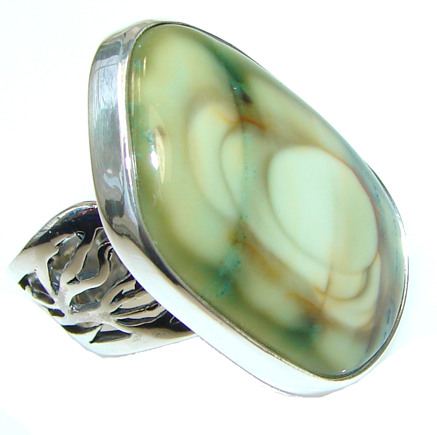 AAA Mexican Imperial Jasper Sterling Silver Ring s. 6 - Adjustable