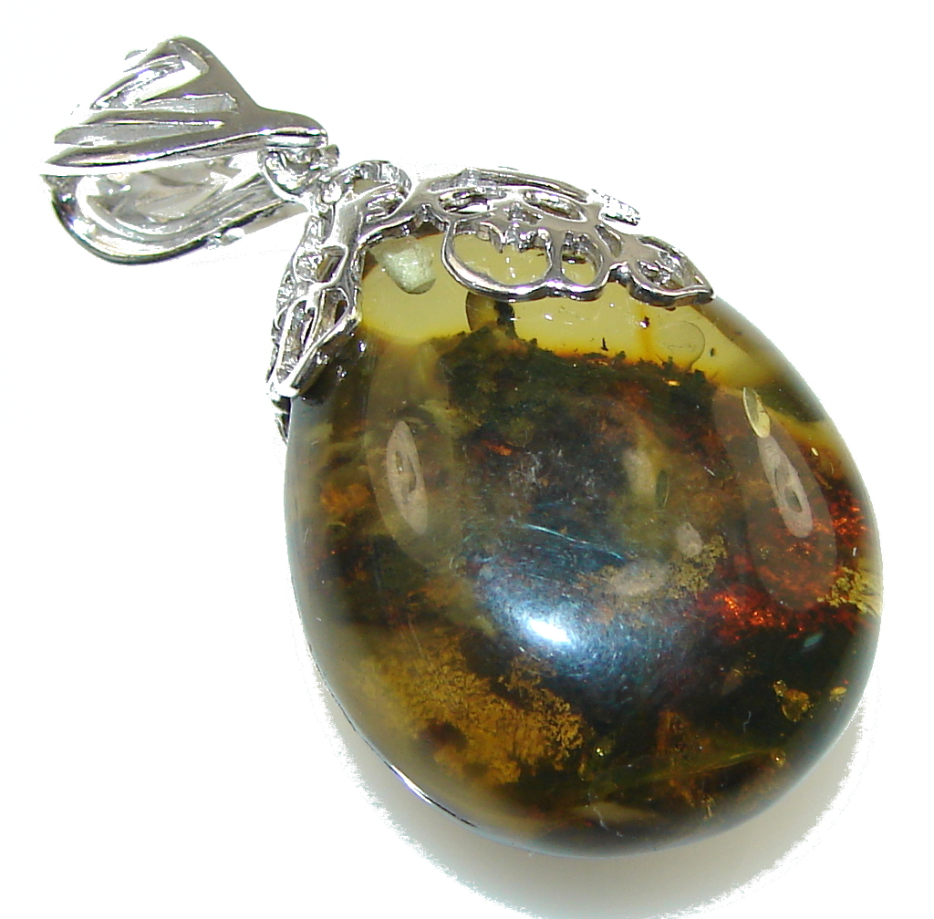 Amazing Green Polish Baltic Amber Sterling Silver pendant