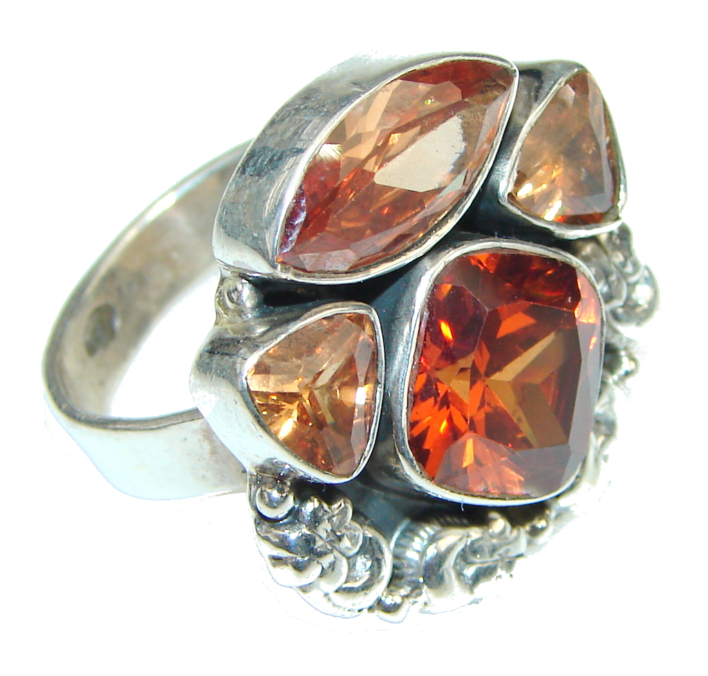 Amazing! Golden Quartz, Honey Quartz Sterling Silver Ring s. 8 1/4