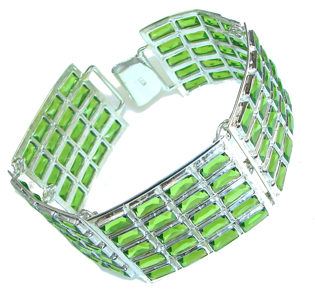 Island Fantasy! Created Green Peridot Sterling Silver Bracelet
