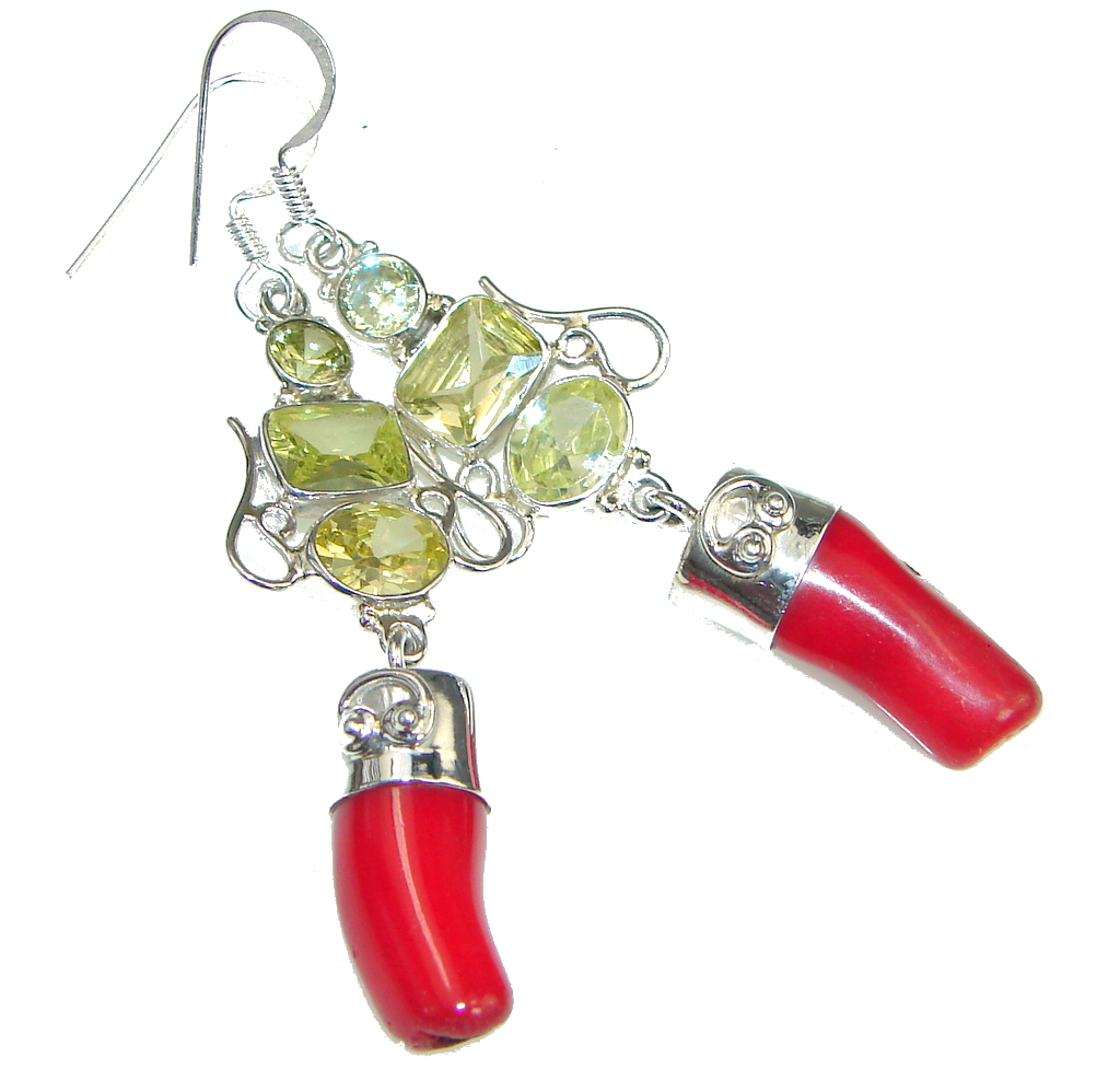 Classic Red Fossilized Coral Sterling Silver earrings