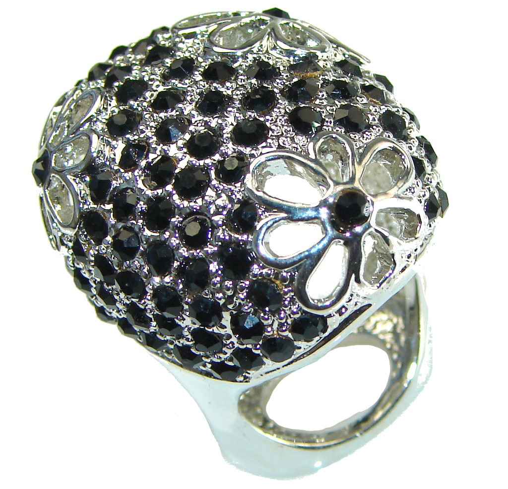 Big! New Fashion Black Onyx Sterling Silver Ring s. 7