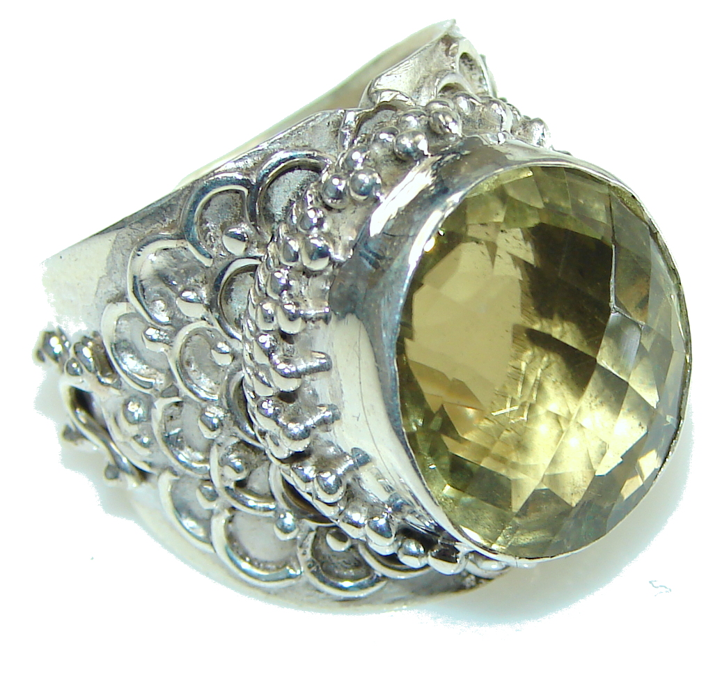 Makes A Good Choice AAA Yellow Citrine Sterling Silver Ring s 9 - Adjustable