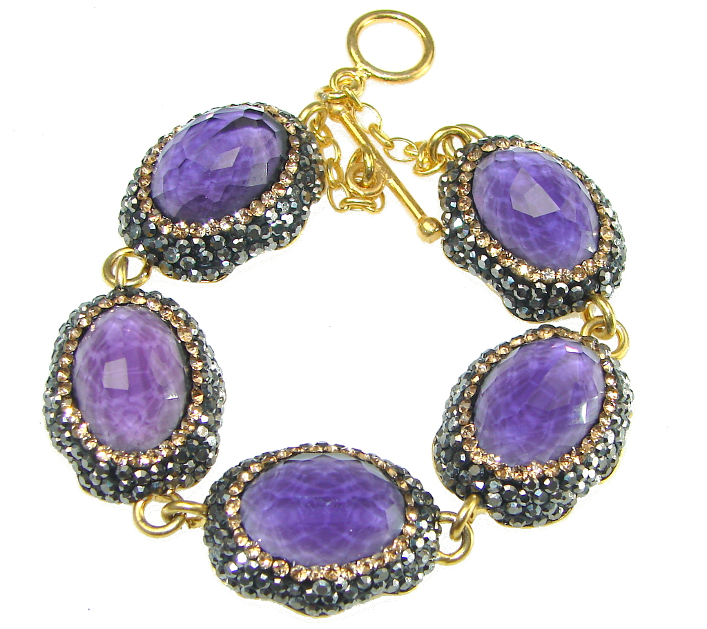 Balance And Peace Natural Purple Amethyst Sterling Silver Bracelet