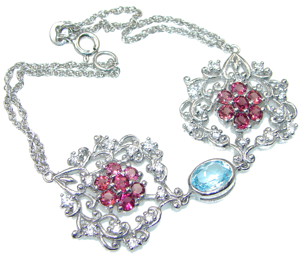 Falling In Love! Swiss Blue Topaz, Ruby, White Topaz Sterling Silver Bracelet