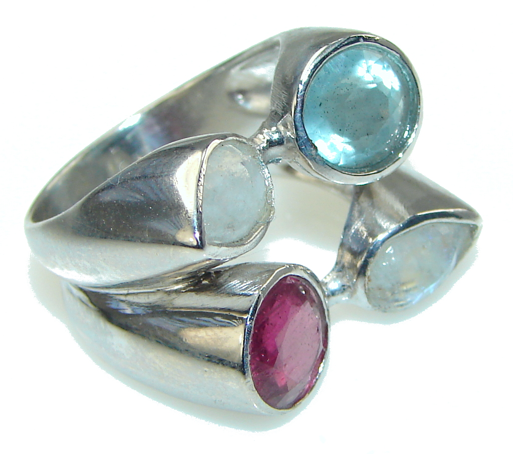 Help Calm Responses And Stress! White Moonstone Sterling Silver Ring s. 8