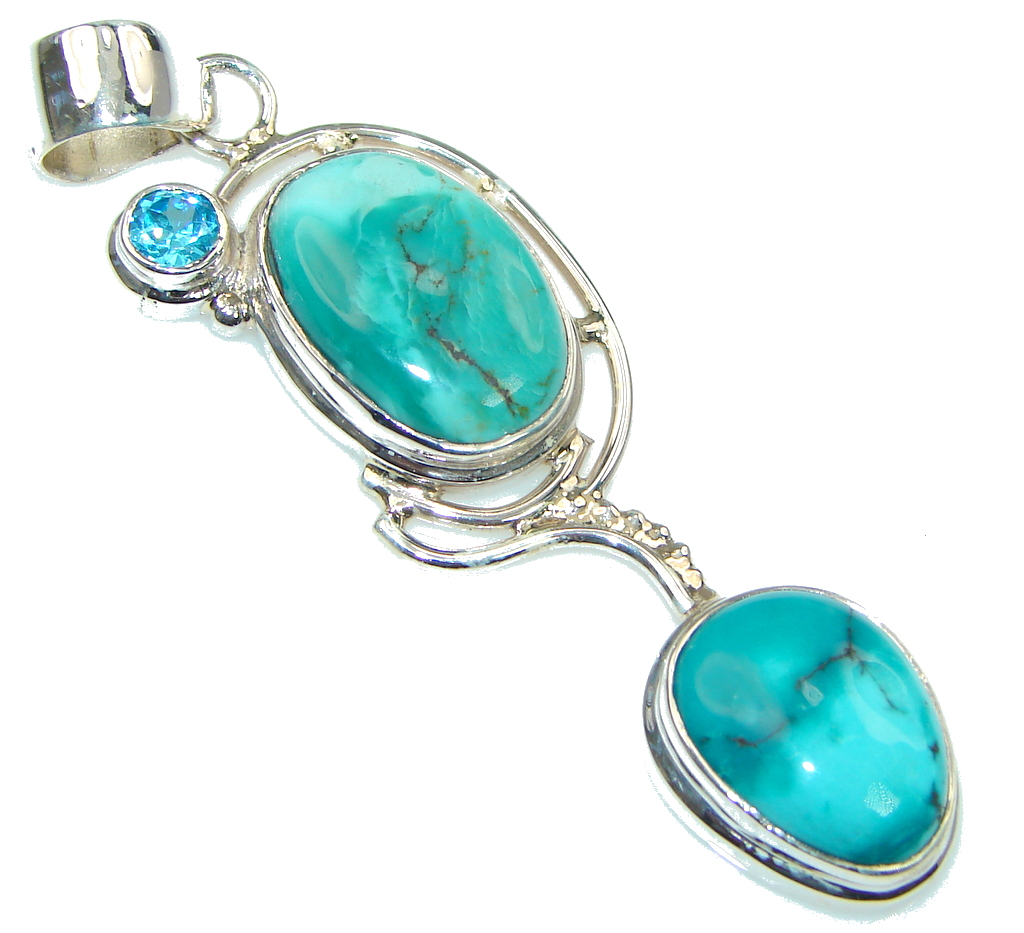 Amazing Corrico Lake! Turquoise Sterling Silver Pendant