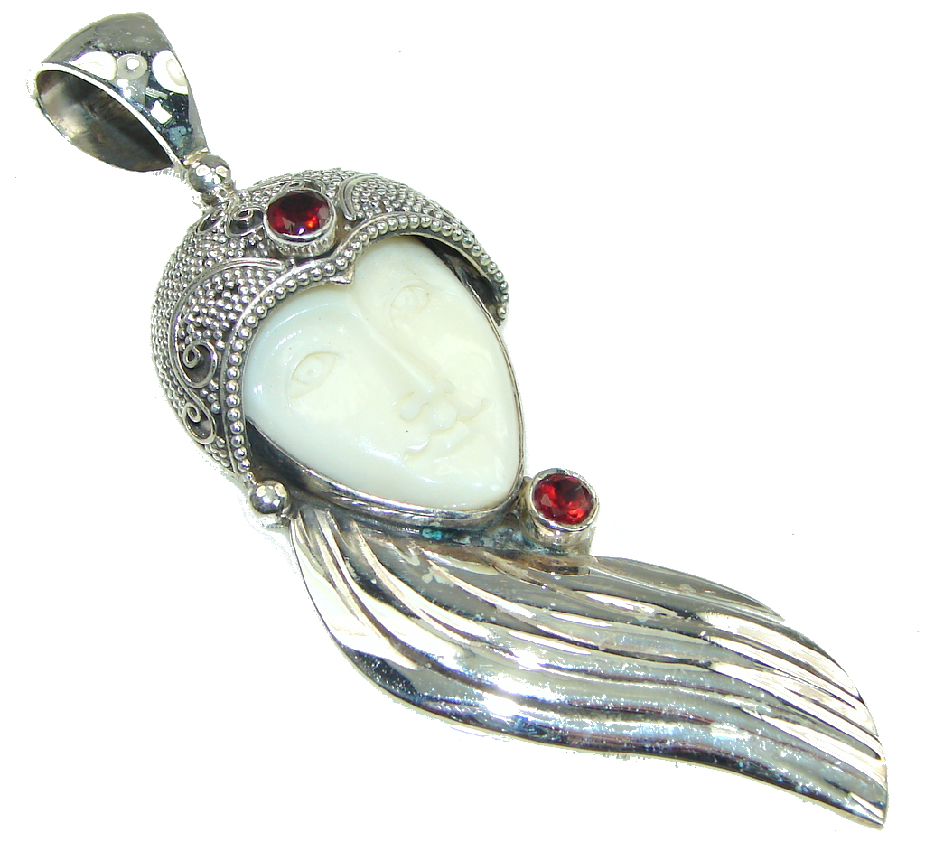 Big! Fashion White Moonface, Garnet Sterling Silver Pendant
