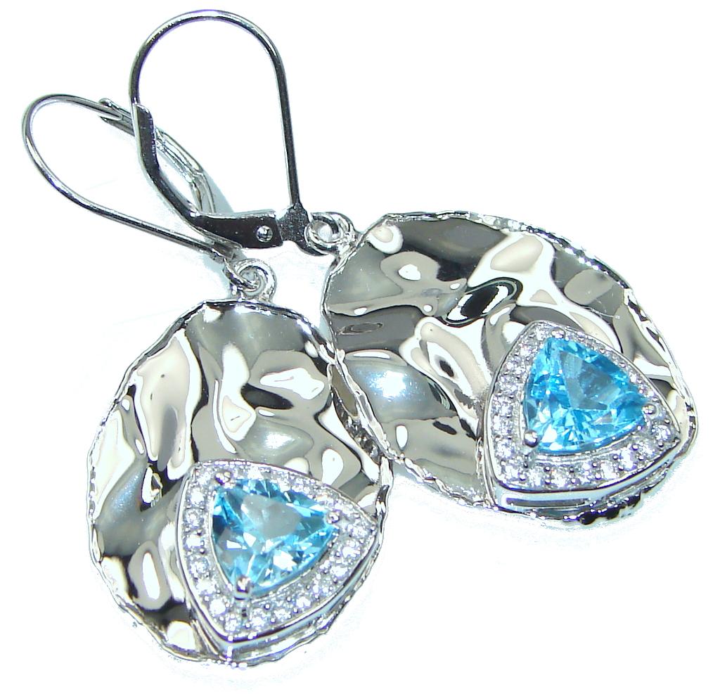 Clear Sky Blue! Swiss Blue Topaz, White Topaz Sterling Silver earrings