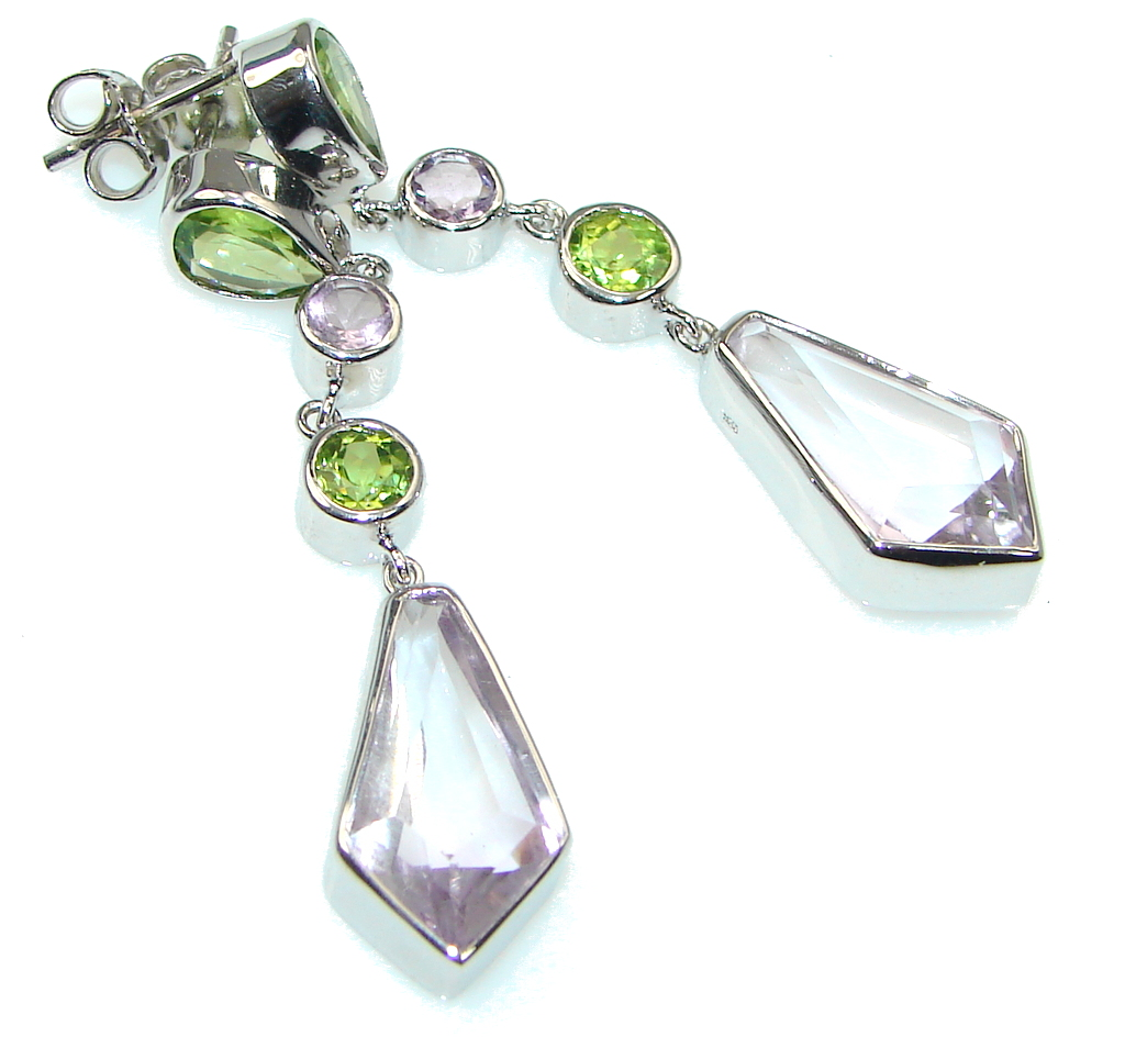 Date Night! Light Pink Amethyst, Peridot Sterling Silver earrings