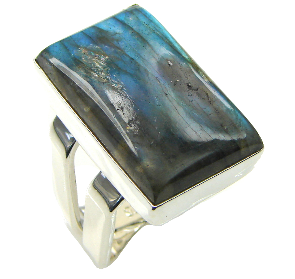 Shimmering AAA Labradorite Sterling Silver Ring s. 6 1/4
