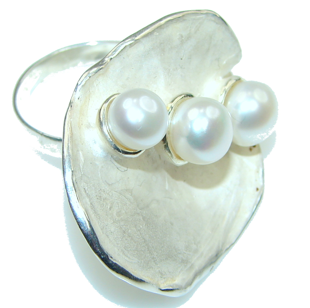 Big! Stunning Fresh Water Pearl Sterling Silver ring; 8 1/4