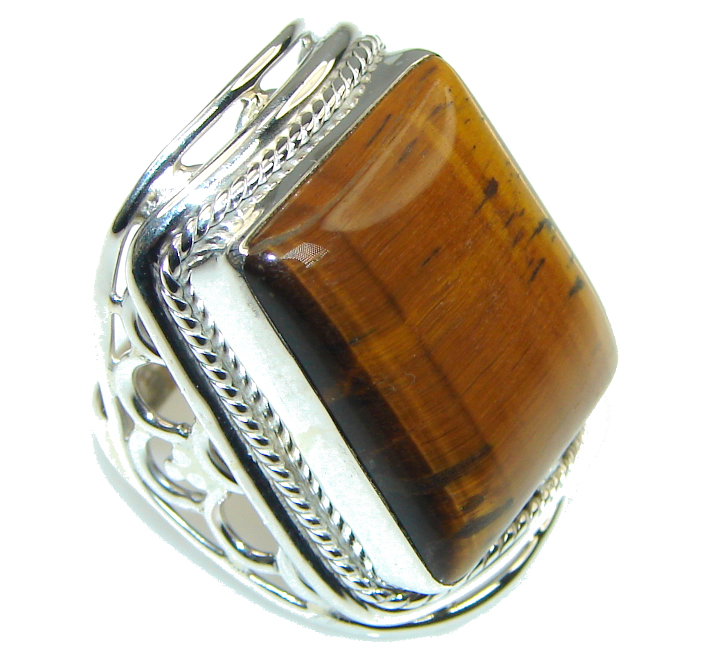 Secret Brown Tigers Eye Sterling Silver Ring s. 6 91725