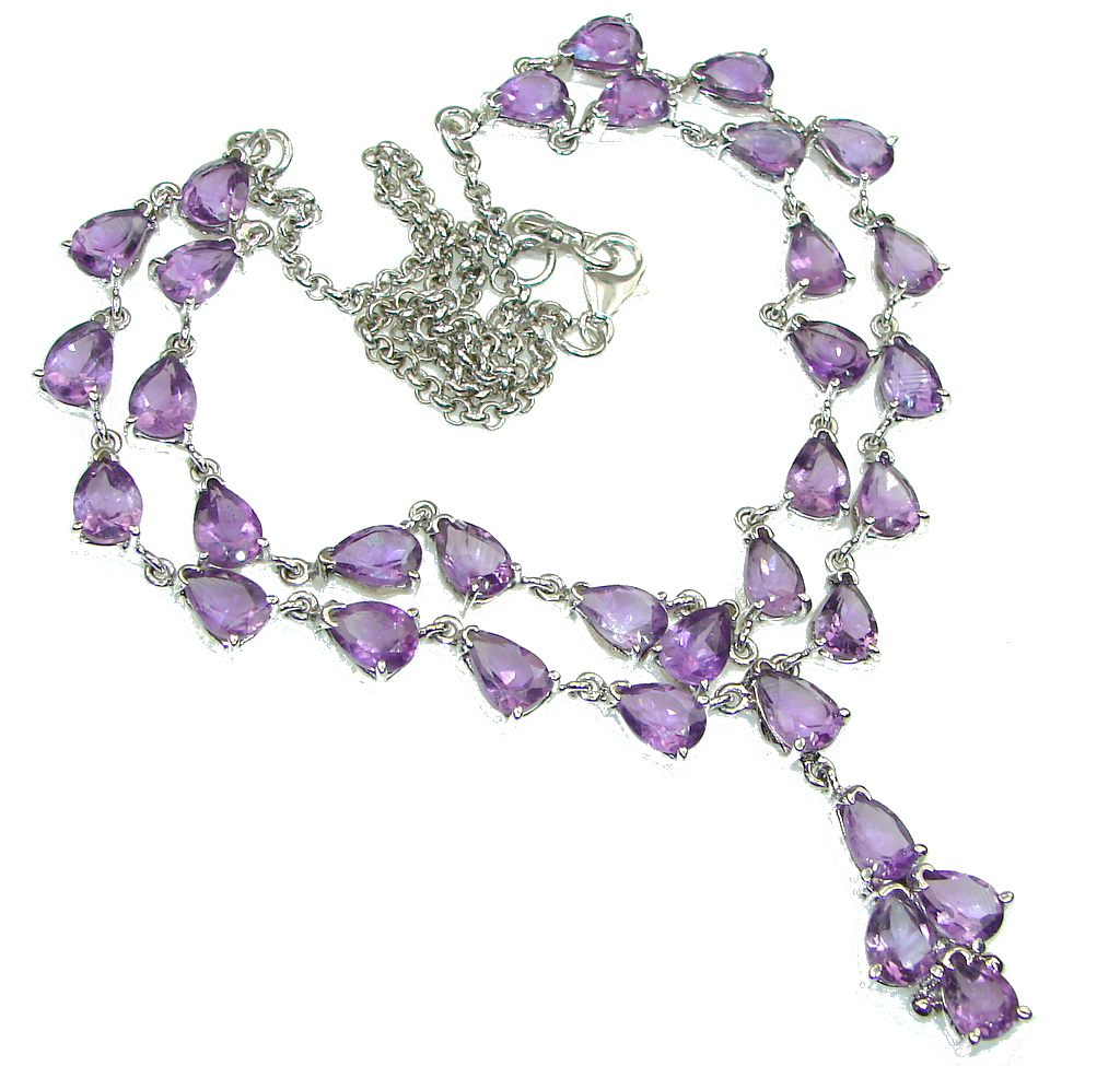 Stunning Design! Natural Purple Amethyst Sterling Silver Necklace