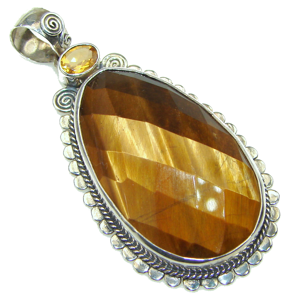 Amazing Brown Tigers Eye Sterling Silver Pendant