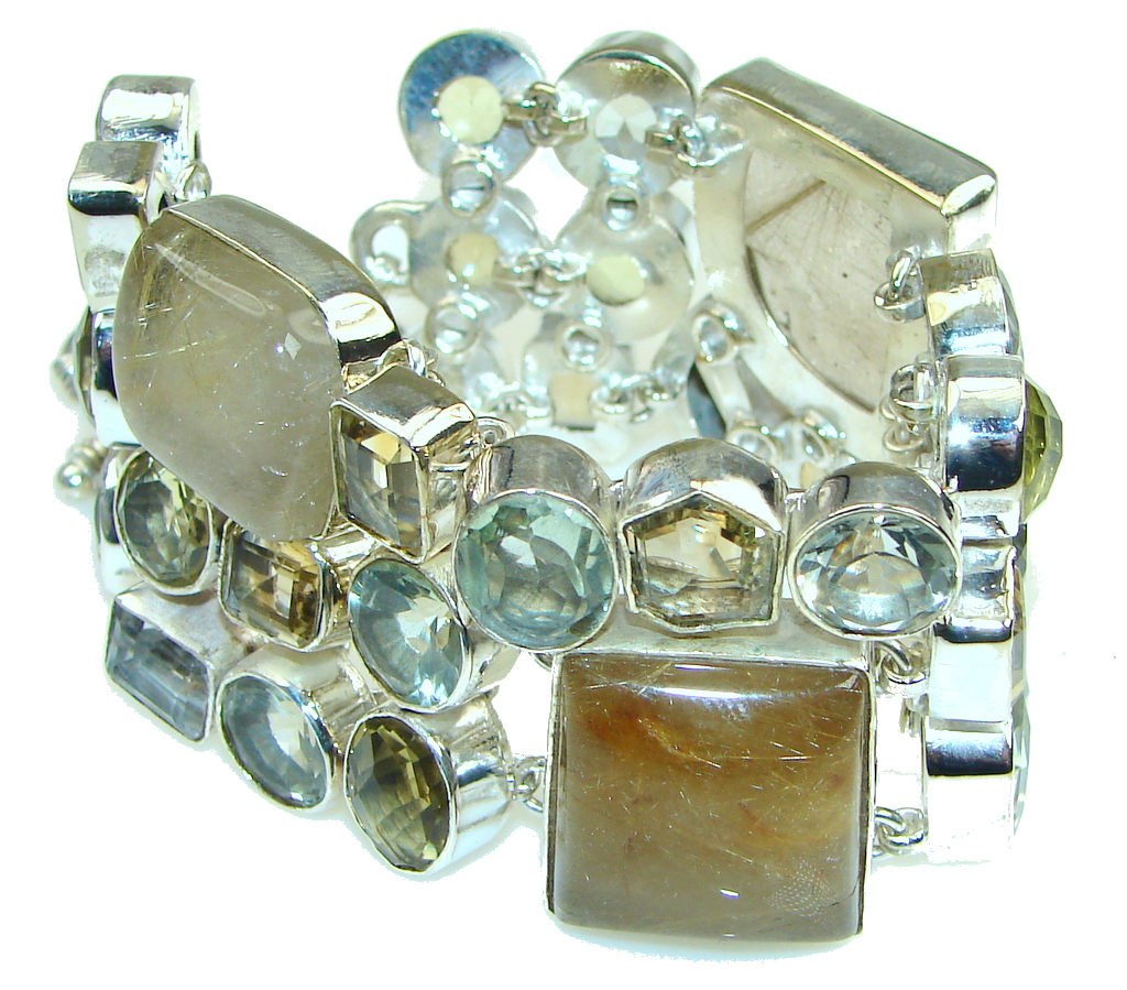 Exclusive! Golden Rutilated Quartz Sterling Silver Bracelet