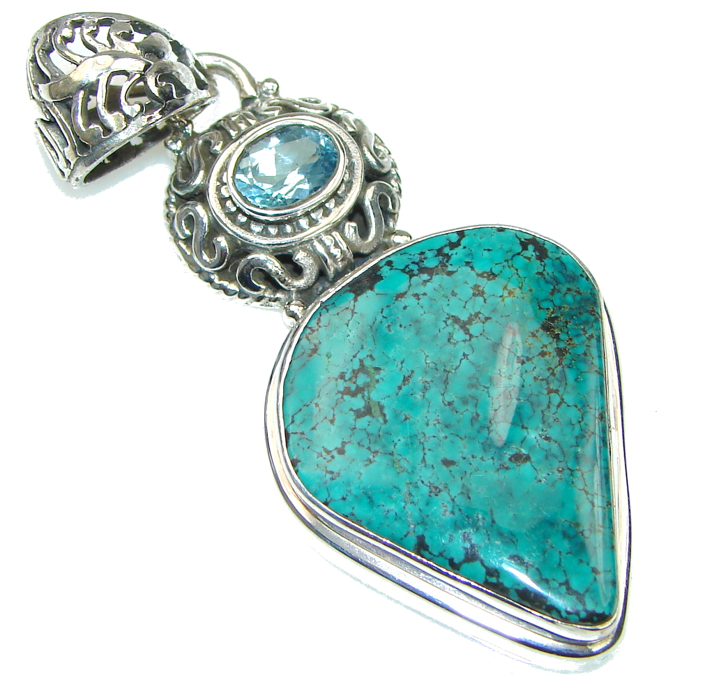 Green Island! Turquoise Sterling Silver Pendant