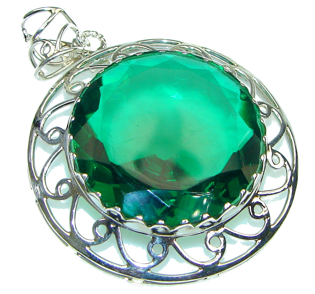 Secret! Created Green Emerald Sterling Silver Pendant