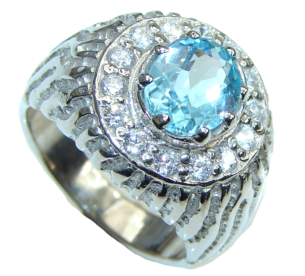 Water Of The Sea! Natural Blue Topaz & White Topaz Sterling Silver Ring s. 8 1/2
