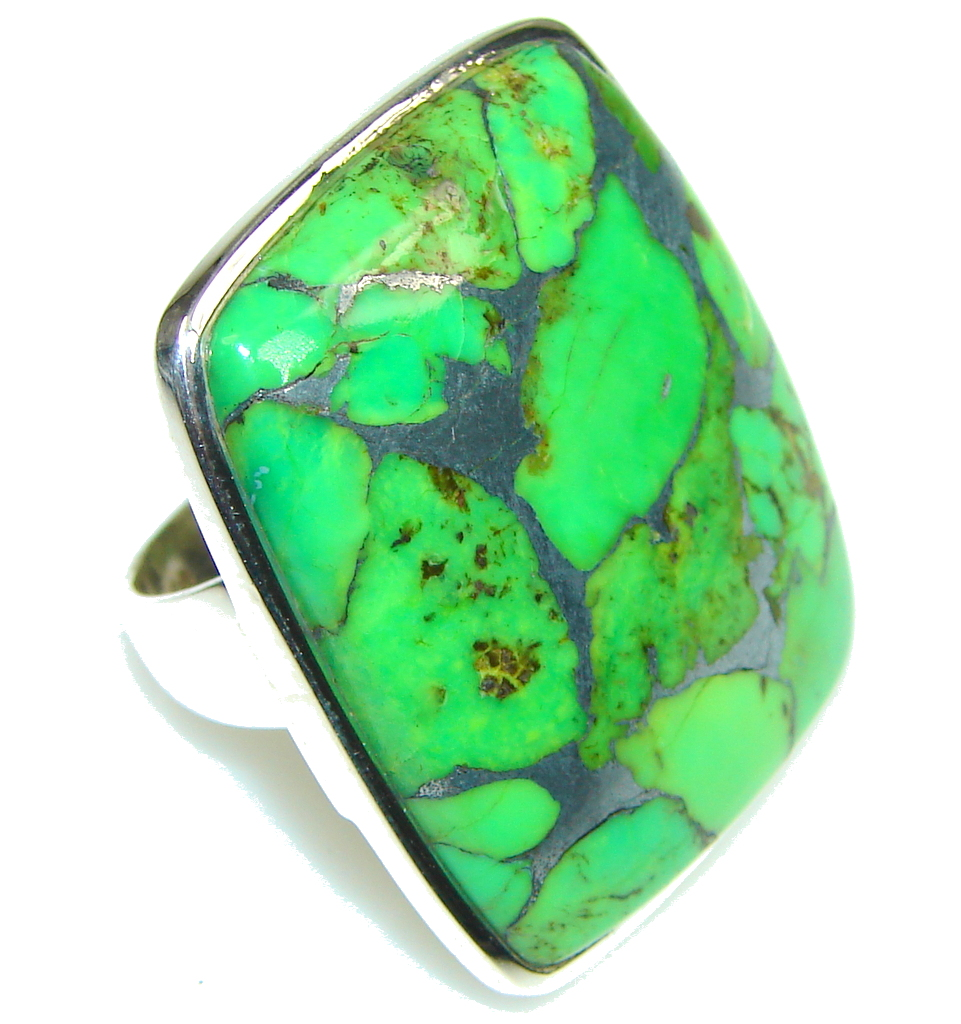 Big! Fresh Copper Green Turquoise Sterling Silver Ring s. 8 1/4