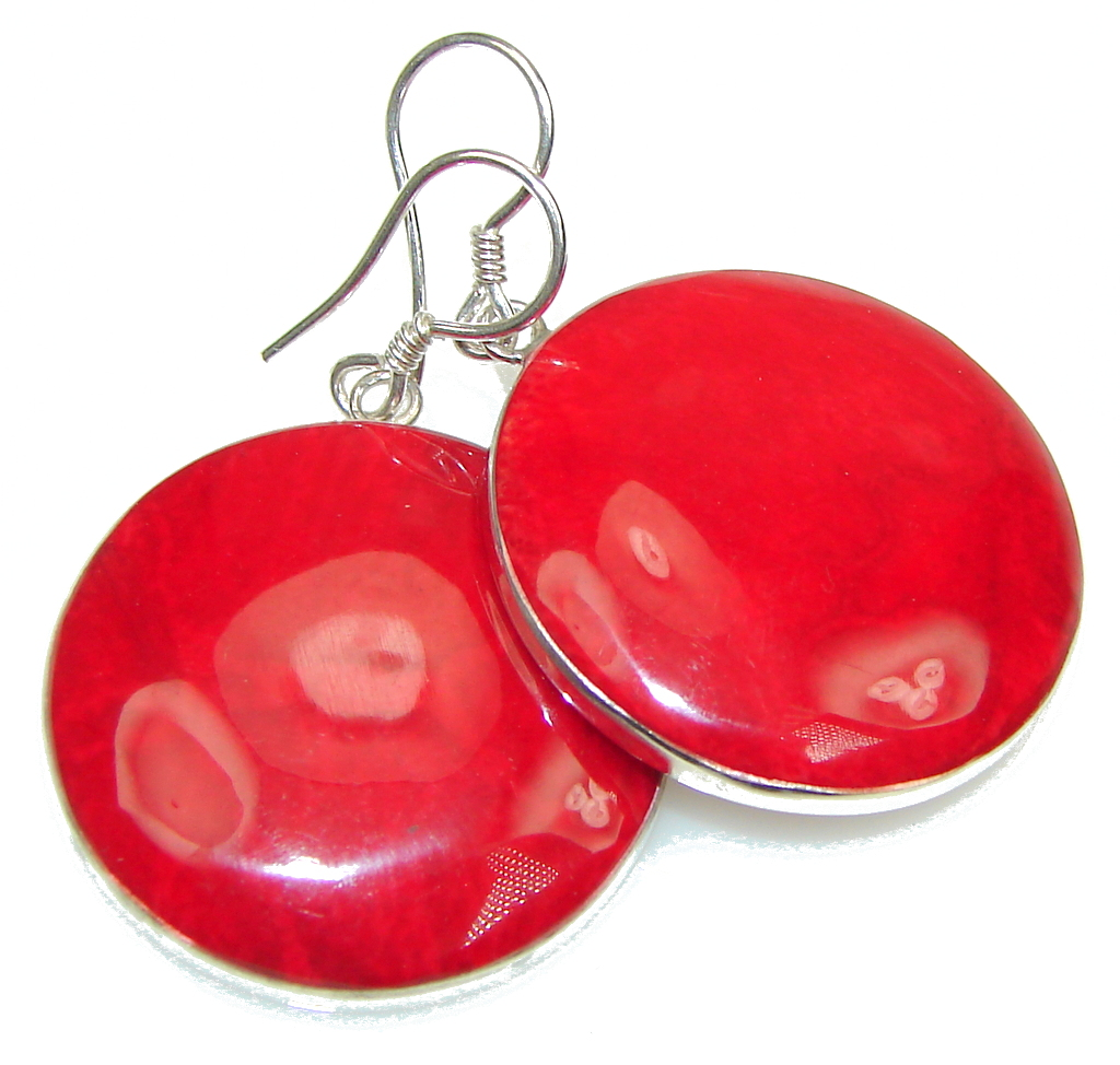 Lovely Power! Fossilized Coral Sterling Silver earrings