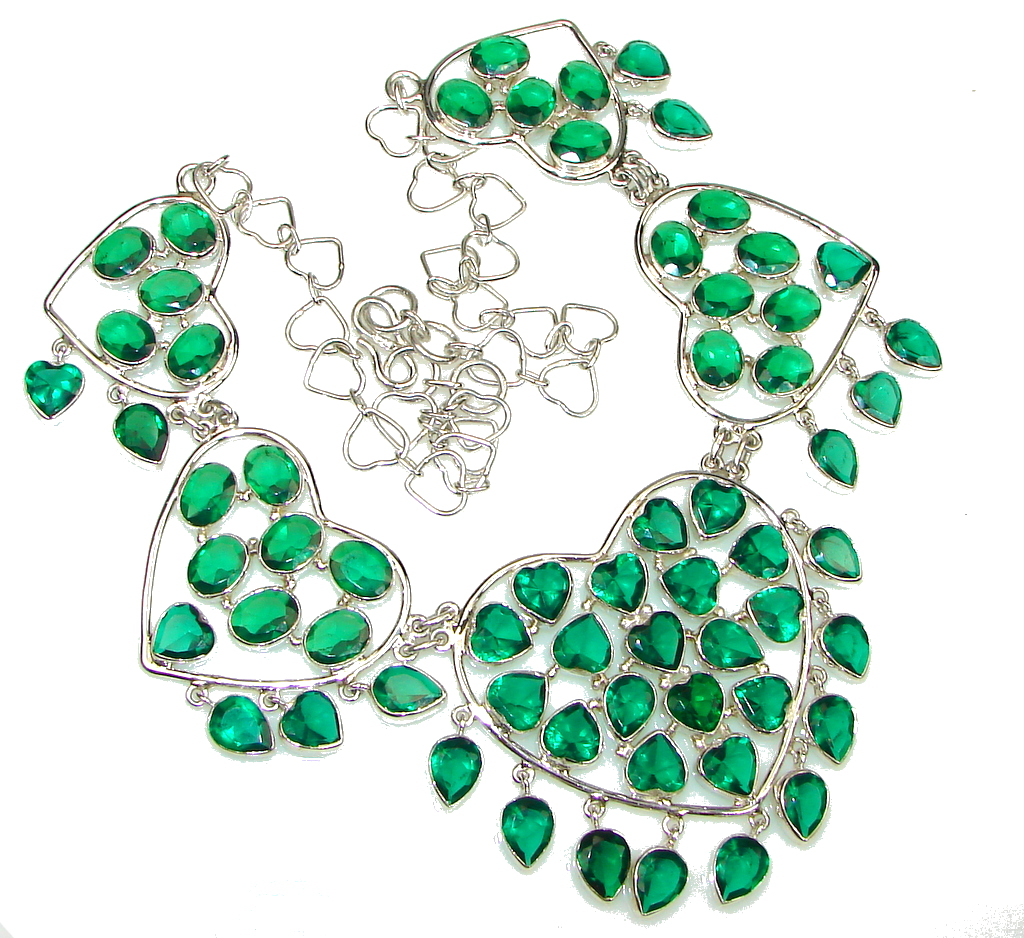 Green Love! Created Green Emerald Sterling Silver Necklace