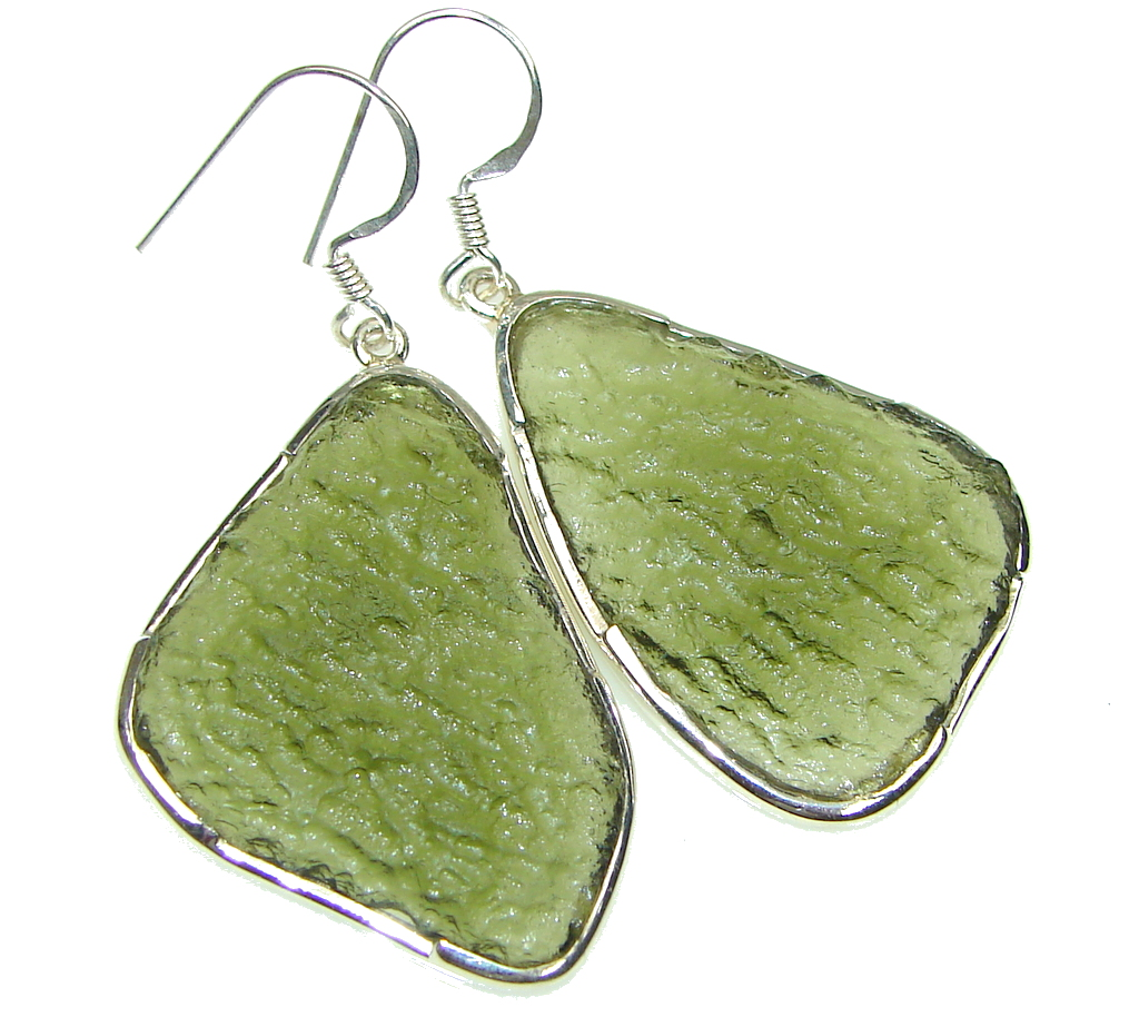 Image of Green Island! Green Moldavite Silver Sterling earrings