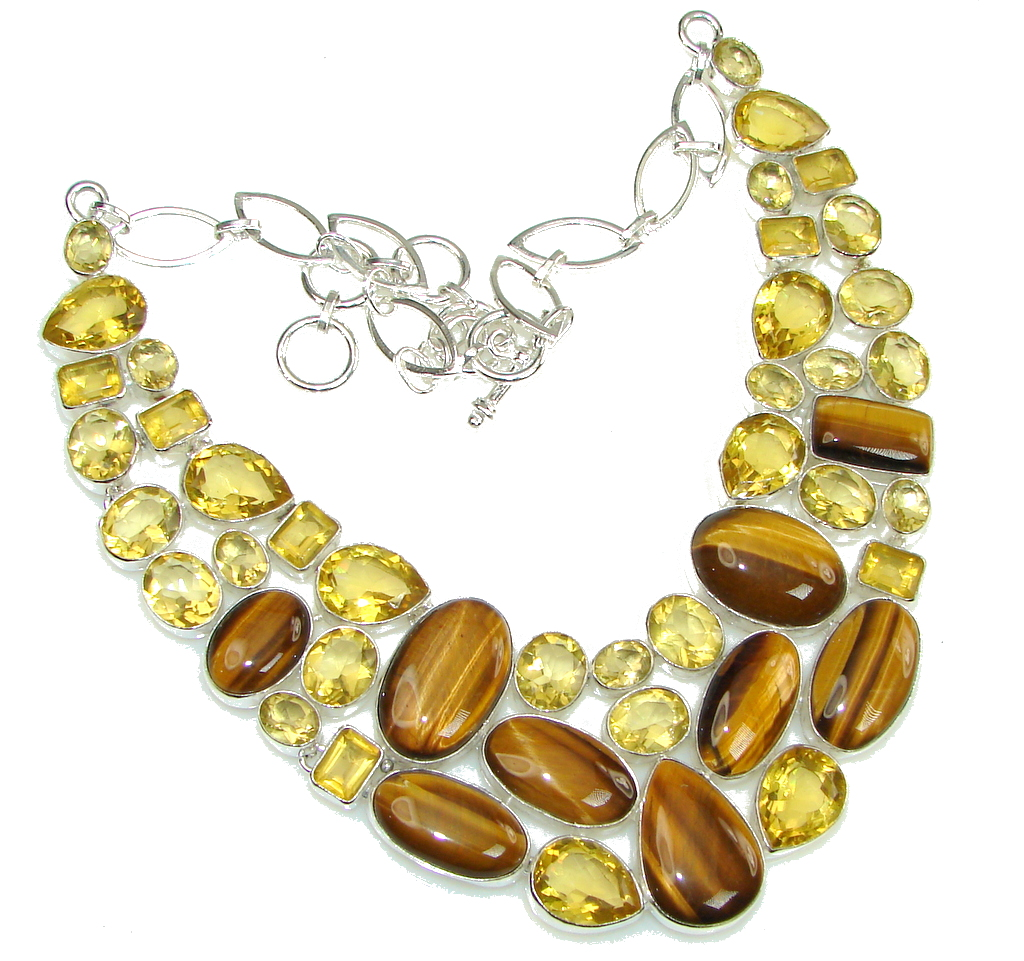 Protective Energy Golden Tigers Eye Yellow Citrine Sterling Silver necklace