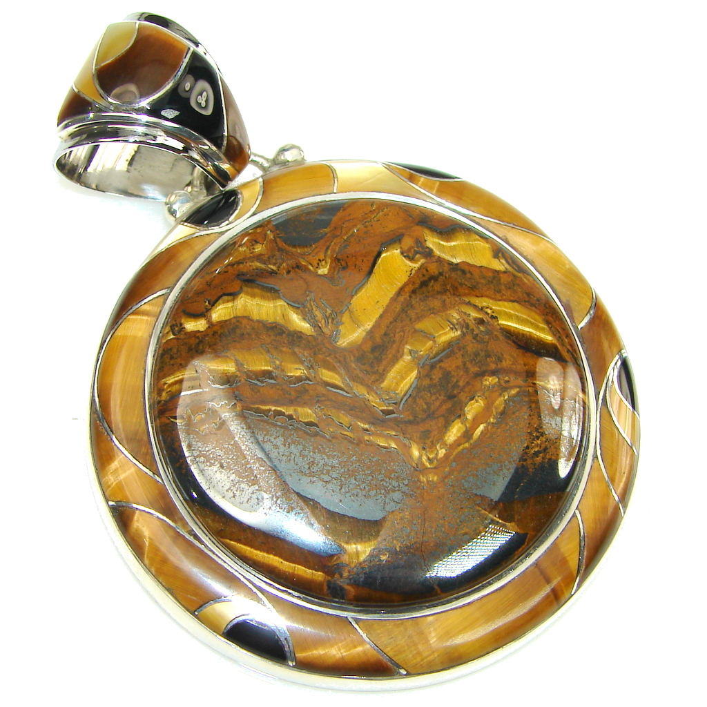 Big! Stunning Golden Tigers Eye Sterling Silver Pendant