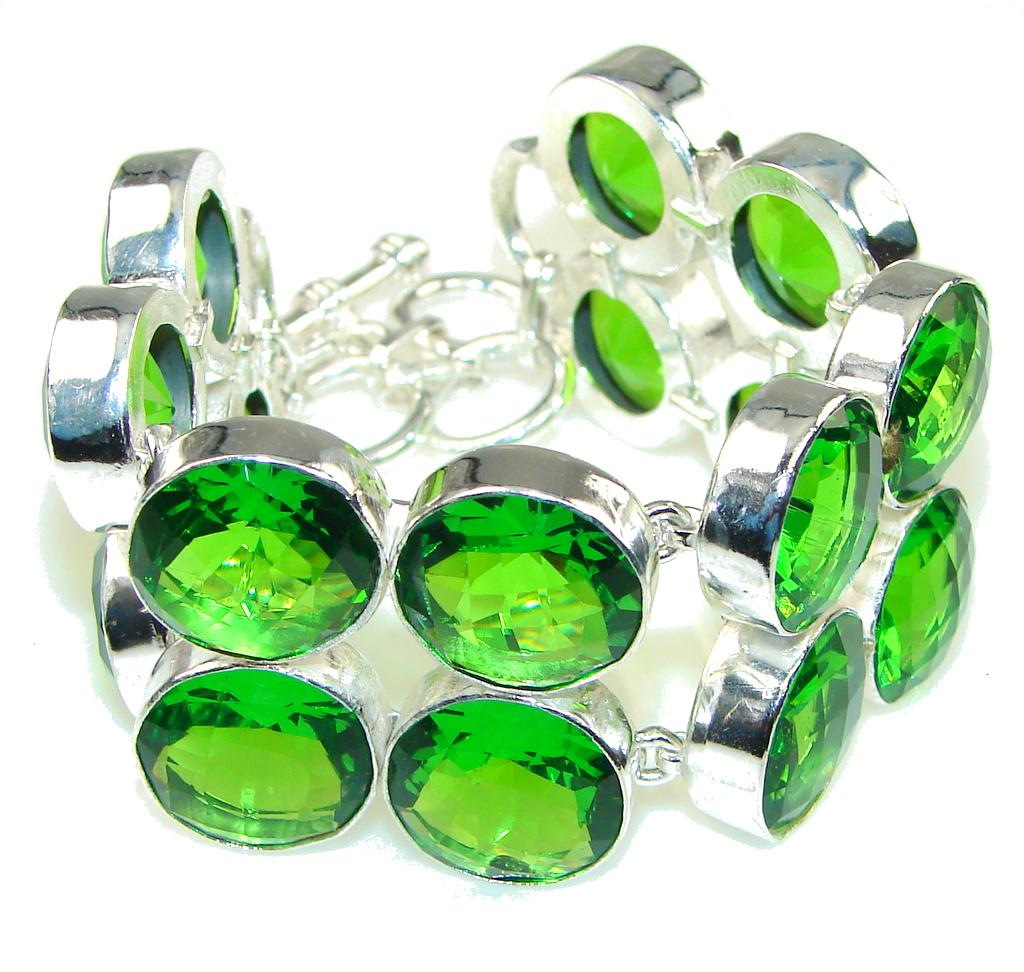 Freah Created Green Peridot Sterling Silver Bracelet