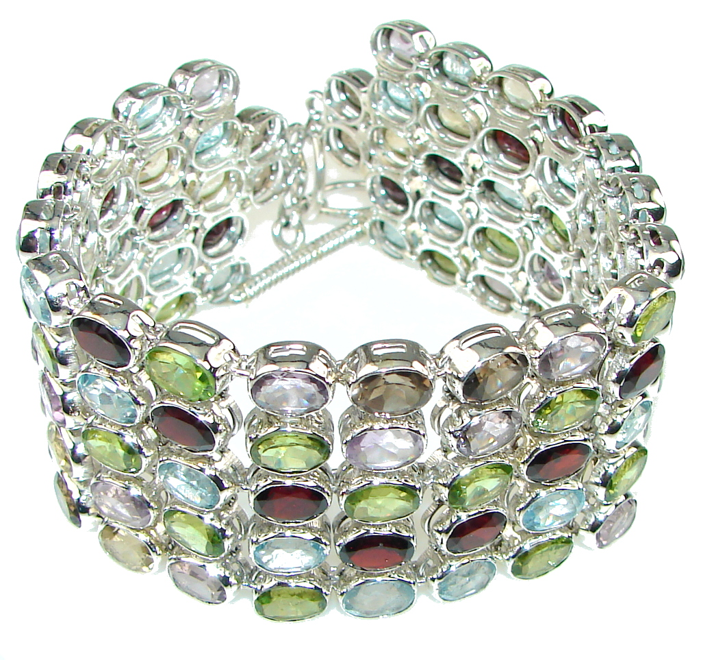 Stunning Design! Natural Red Garnet Sterling Silver Bracelet