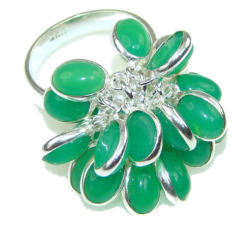 Excellent Green Jade Sterling Silver ring s. 6 1/4