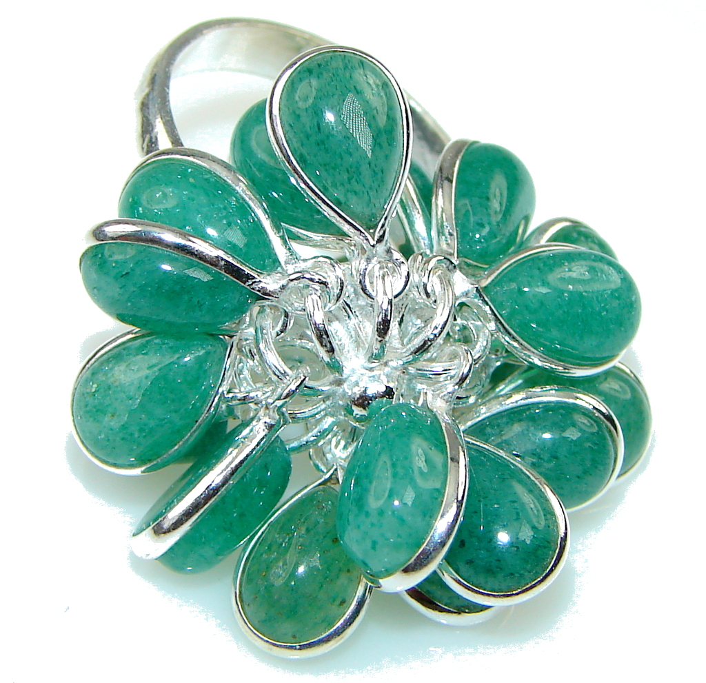 Green Island! Jade Sterling Silver ring s. 8 1/2