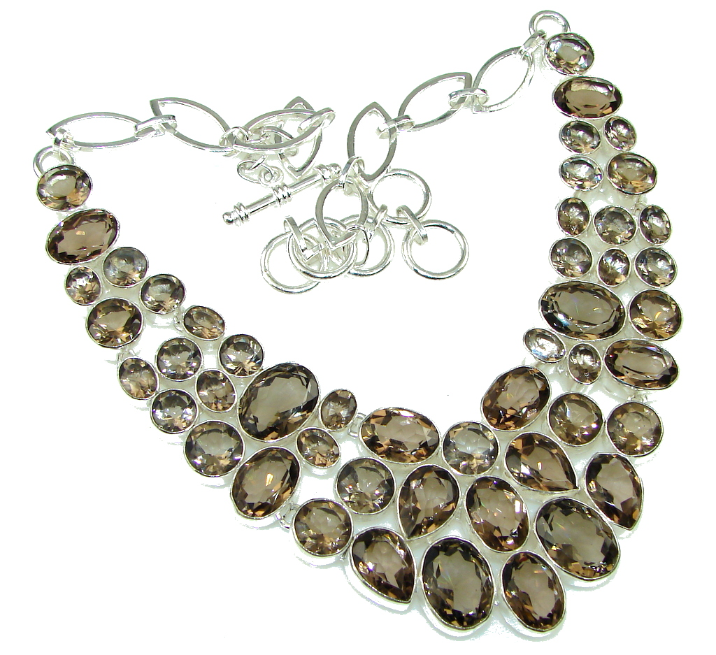 Big! Amazing Champagne Smoky Topaz Sterling Silver necklace