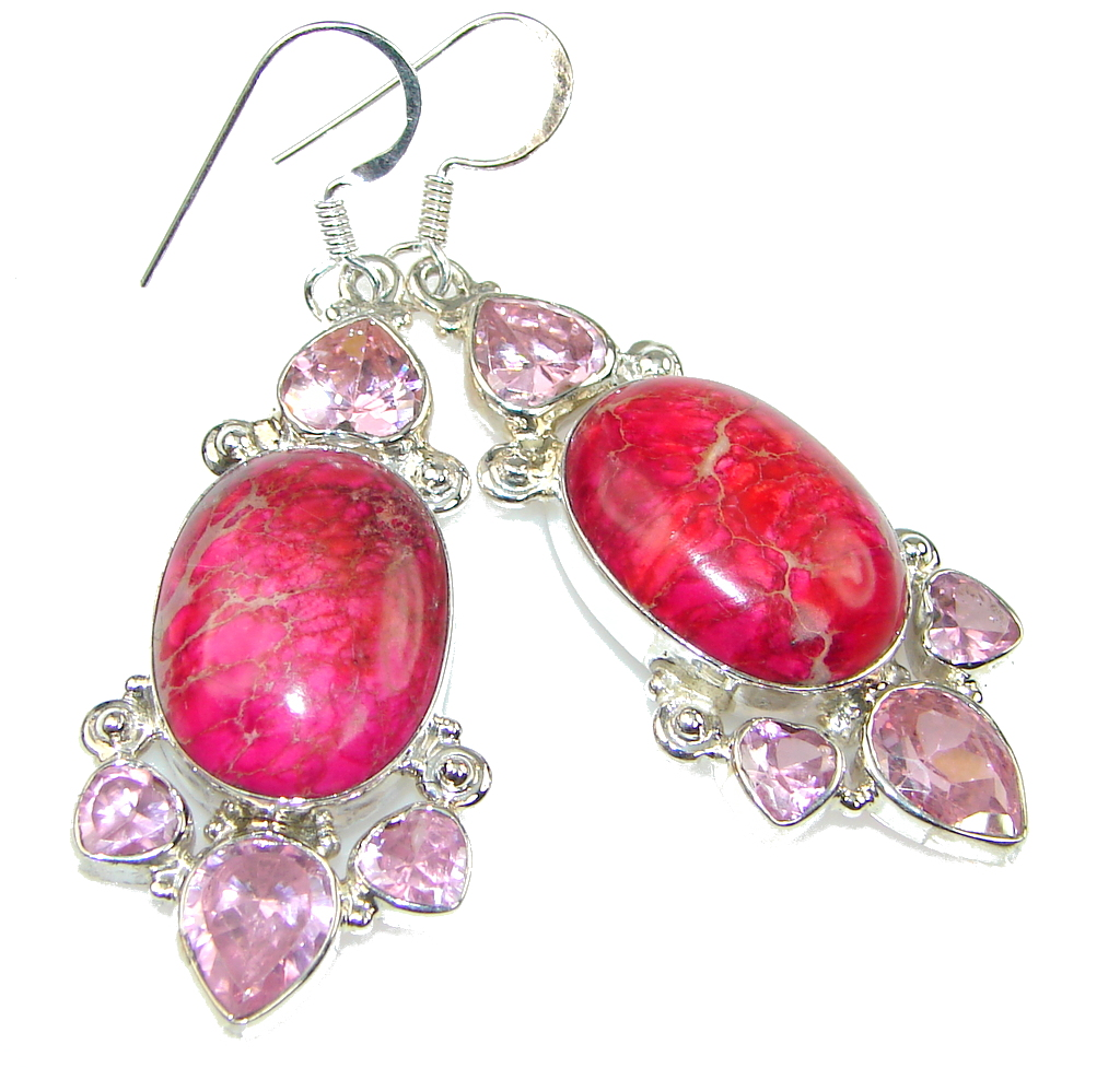 Awesome! Pink Sea Sediment Jasper Sterling Silver earrings