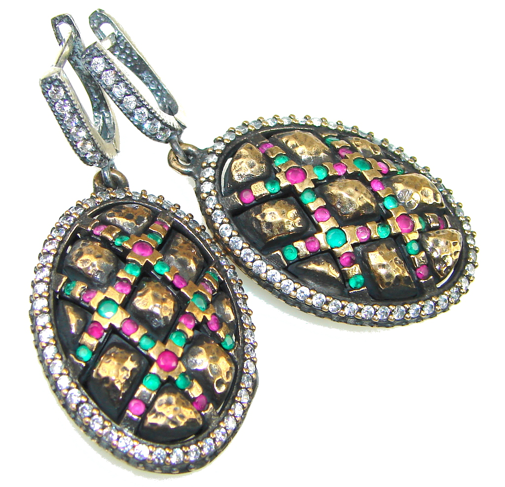 Victorian Style! Pink Ruby, Emerald Sterling Silver earrings