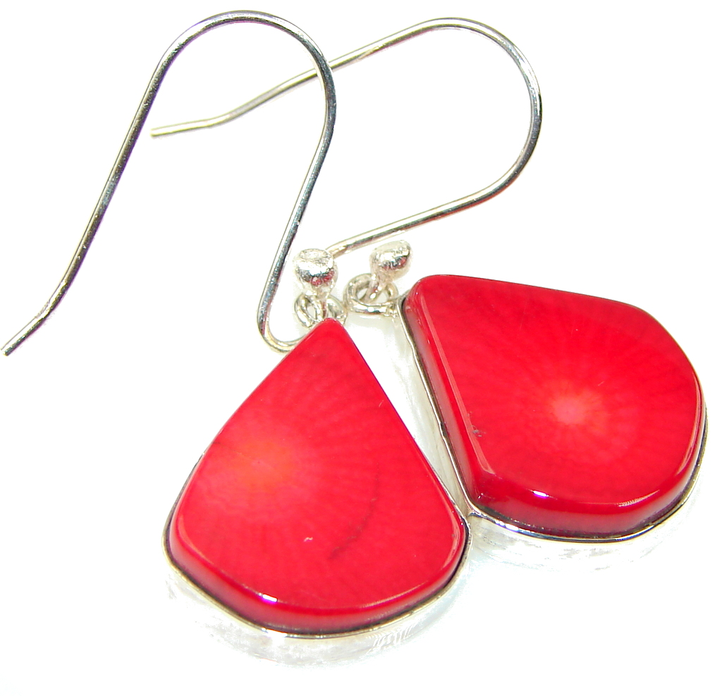 Genuine! Red Fossilized Coral Sterling Silver earrings