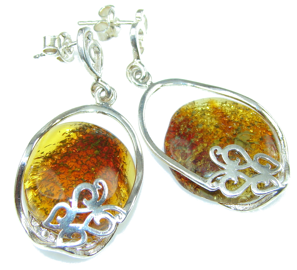 Beautiful! AAA Baltic Polish Amber Sterling Silver earrings