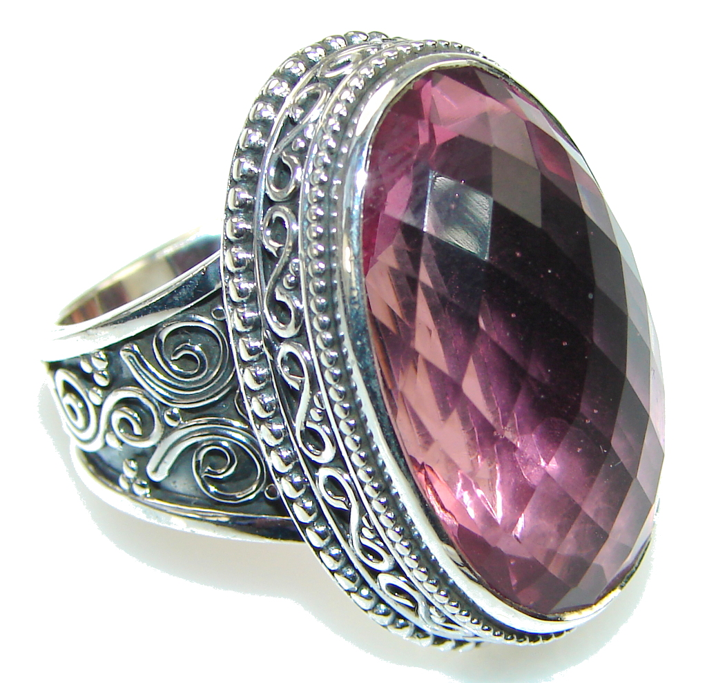 Awesome! Created Pink Sapphire Sterling Silver ring s. 7