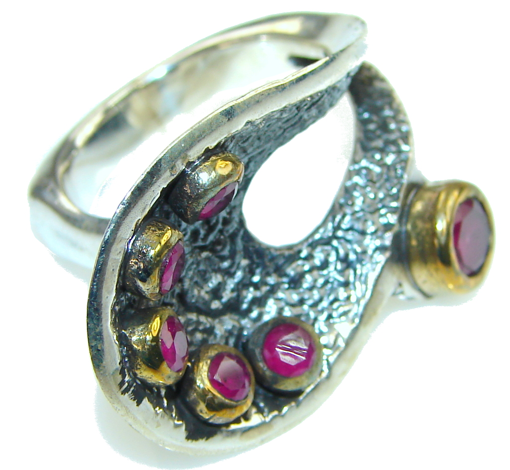 New Fashion Design! Pink Ruby Sterling Silver Ring s. 8