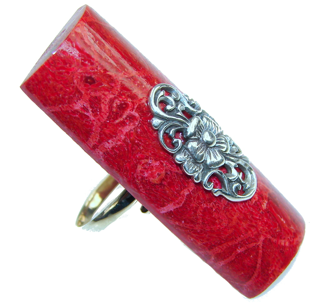 Big! Lovely Red Fossilized Coral Sterling Silver ring s. 8 - Adjustable