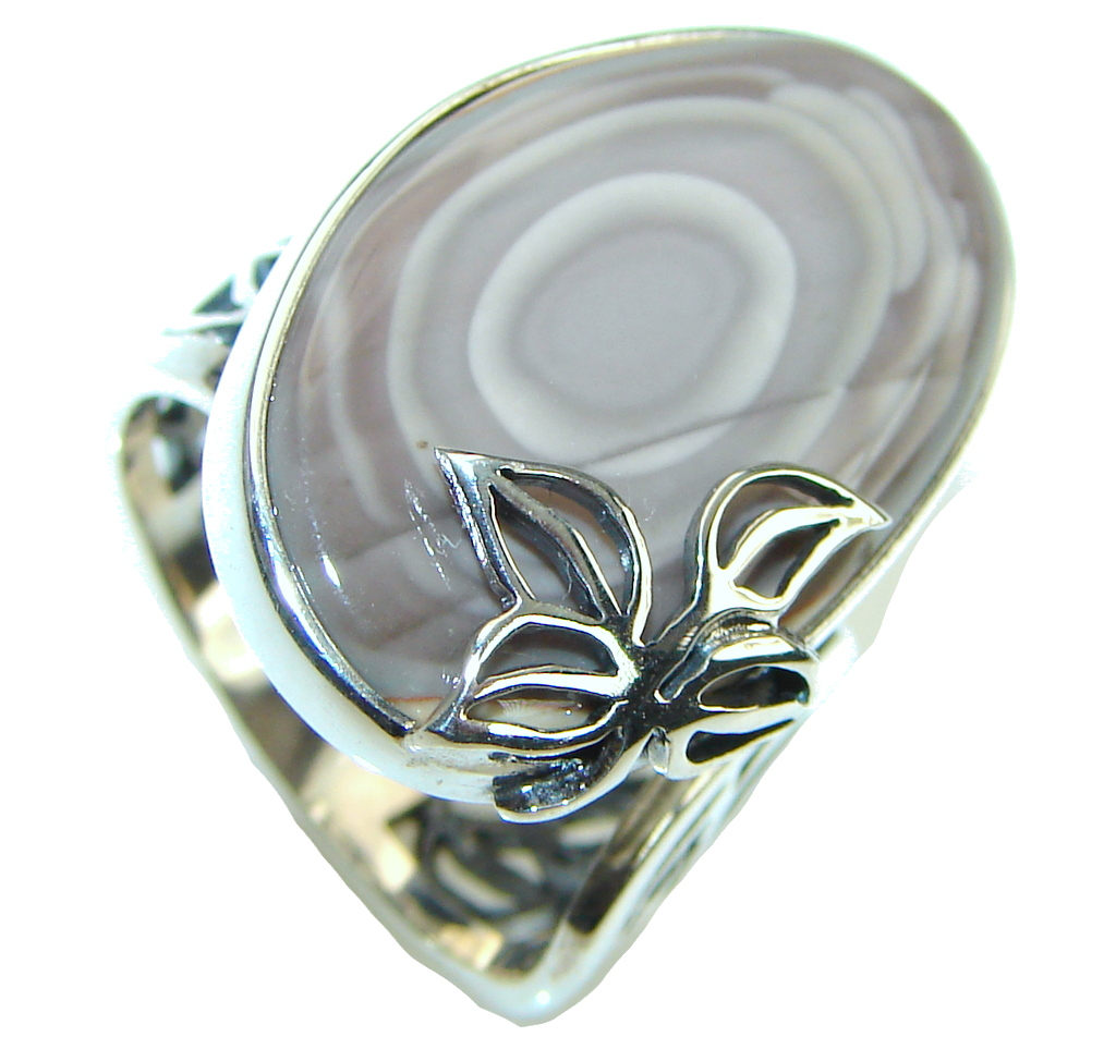 Beautiful! Imperial Jasper Sterling Silver Ring s. 7 - Adjustable