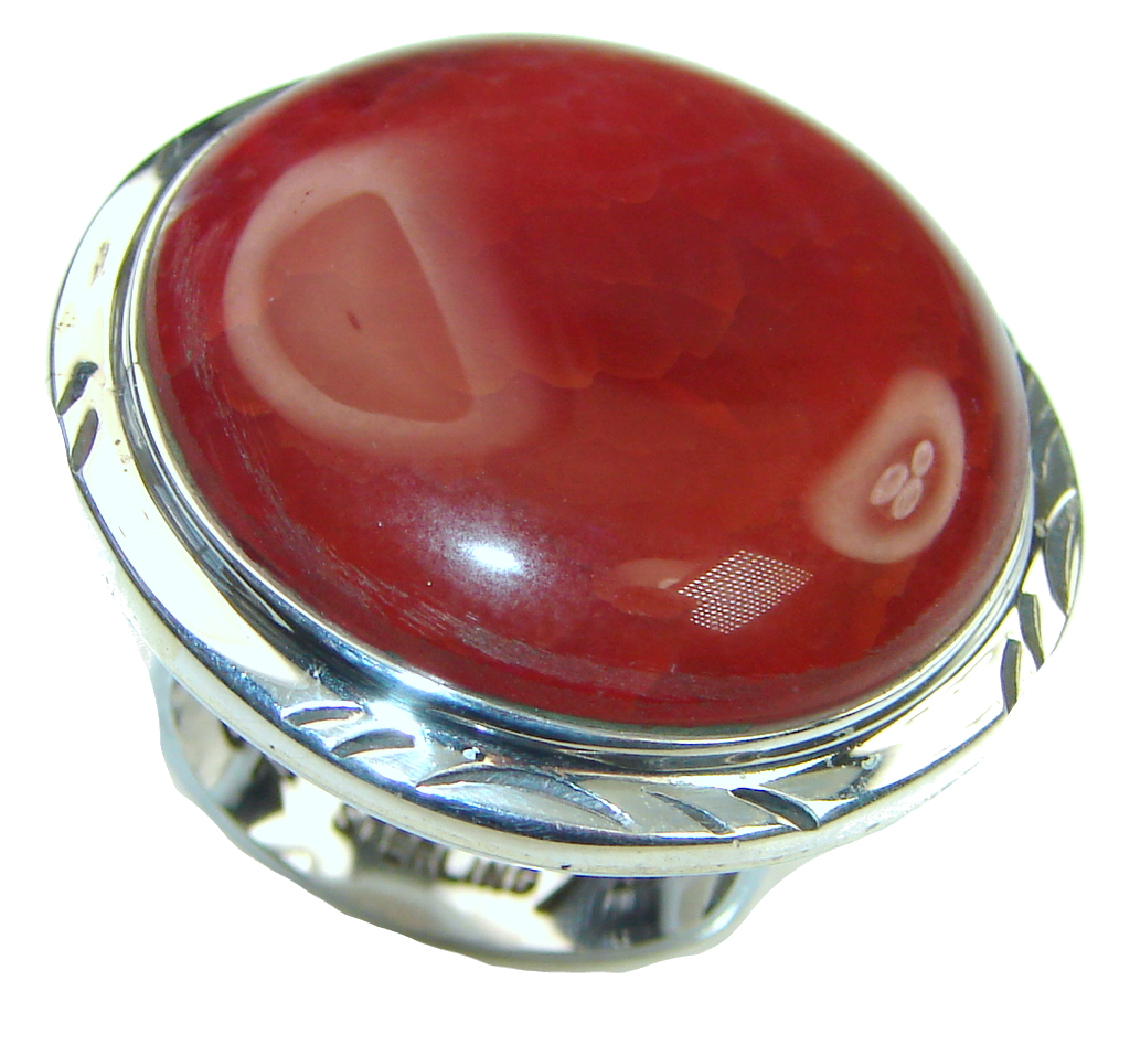 Image of Beautiful! Mexican Fire Agate Sterling Silver ring s. 6 1/4