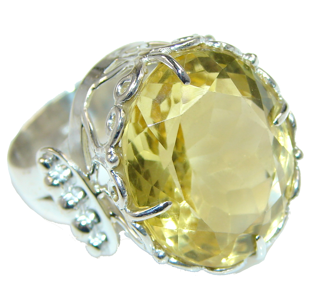 Lovely Angel! Yellow Citrine Sterling Silver Ring s. 9