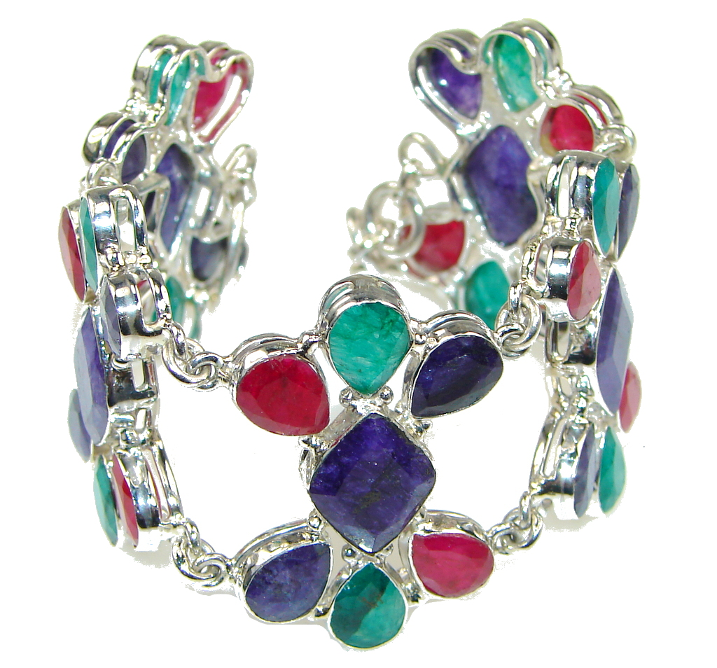 Pale Beauty! Pink Ruby, Sapphire, Emerald Sterling Silver Bracelet