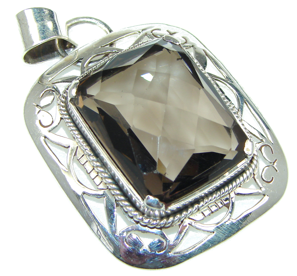 Awesome Design! Brown Smoky Topaz Sterling Silver Pendant
