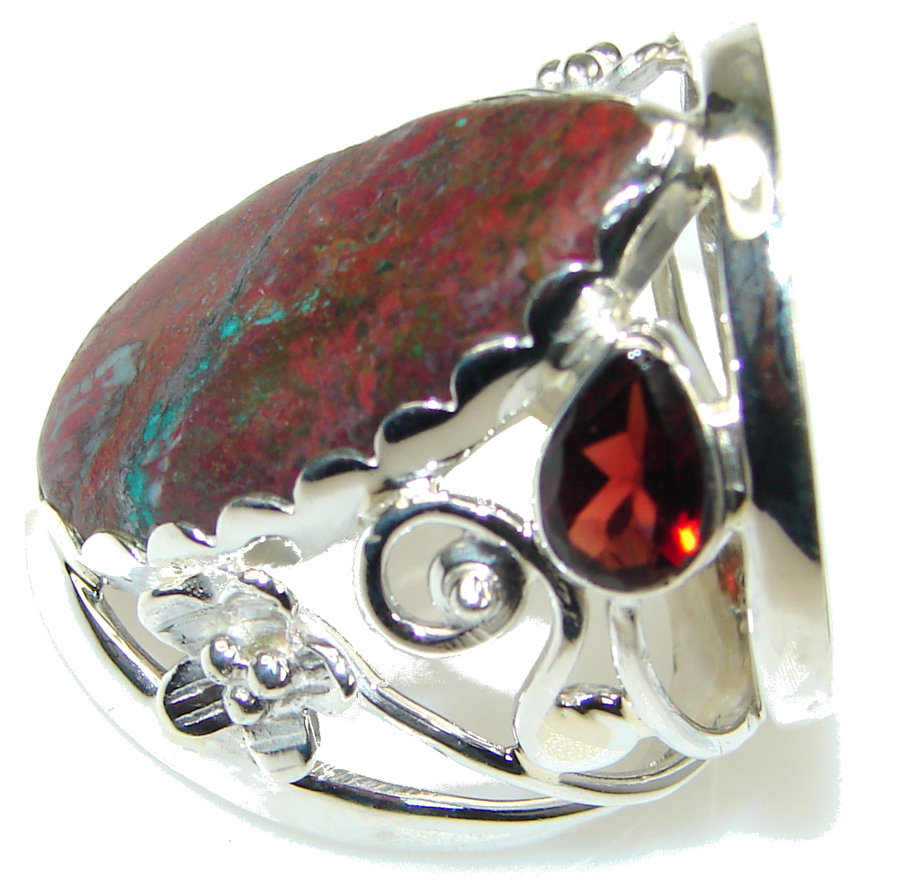 Perfect Balance! Red Sonora Jasper, Garnet Sterling Silver ring s. 8