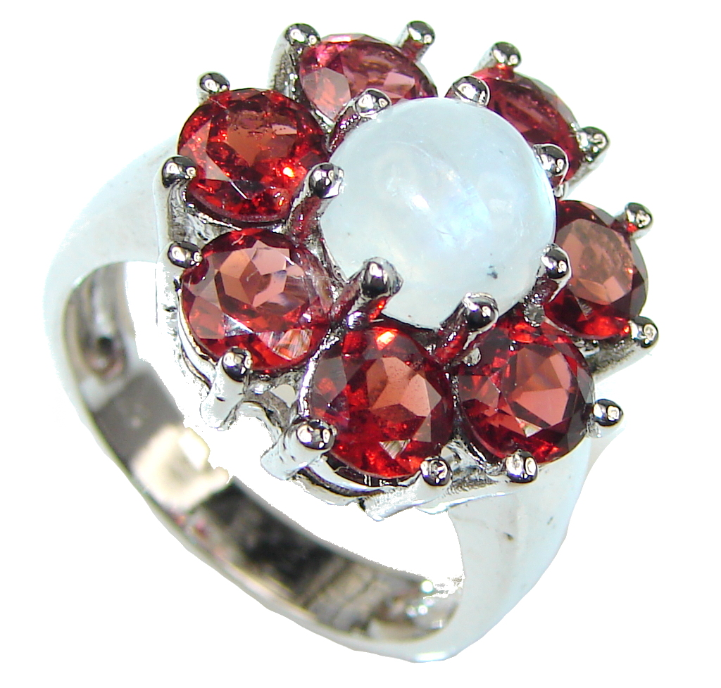 Amazing! White Moonstone, Garnet Sterling Silver ring s. 8