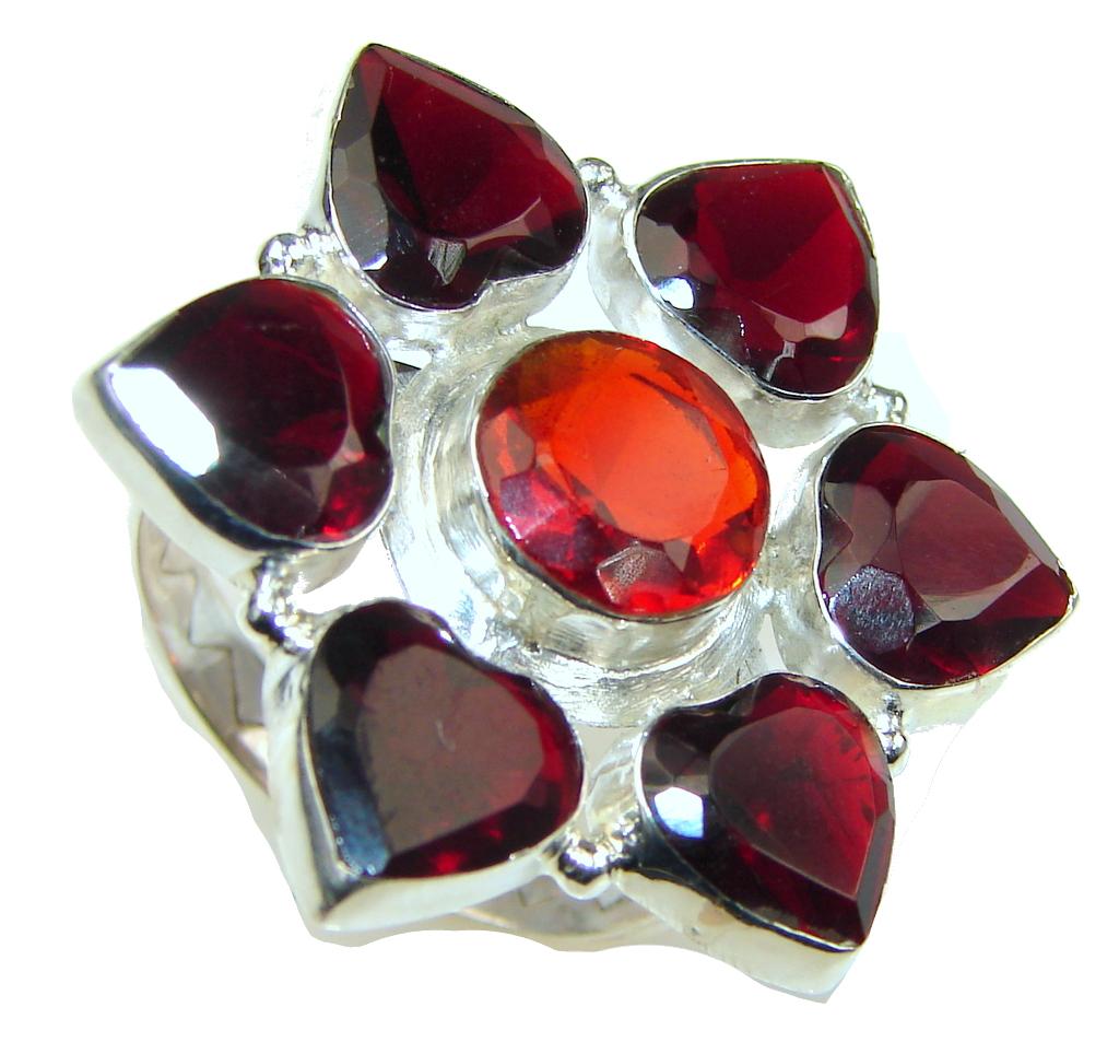 Lovely! Red Garnet Quartz Sterling Silver ring