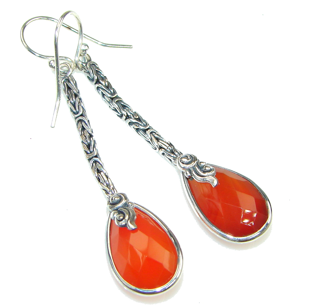 Bali Secret! Orange Carnelian Sterling Silver earrings